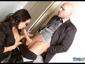 Fucking the secretary in the bathroom
