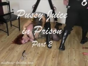 Mistress Kristin - Pussy Juice in Prison - Strap on BDSM