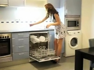 Stunning brunette doggystyle fucked in the kitchen
