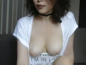 Pretty girl gorgeous tits fingering her pussy