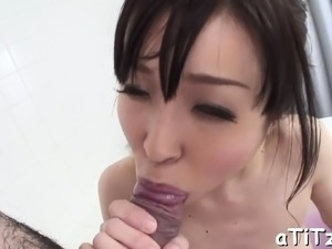 Fashionable japanese hotty charms with rousing titty fuck