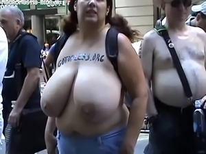 Topless rally chick huge tits macromastia
