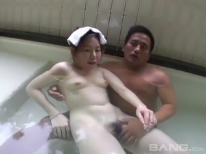 Naughty hot ass Japanese slutties plays with huge dick in hot bath blowjob
