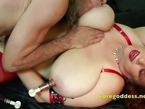 Busty wife with pumped up pussy lips