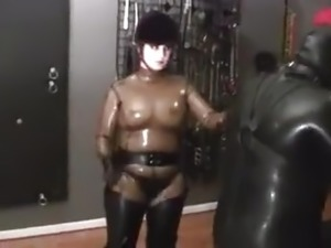 Rubber riding mistress and pony slave