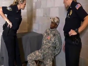 A fake soldier got arrested and now he must fuck lusty female cops