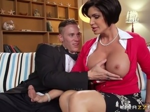 Young dude get his cock licked and sucked by seductive brunette milf
