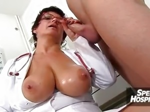 Big natural tits cougar Greta is sexy doctor