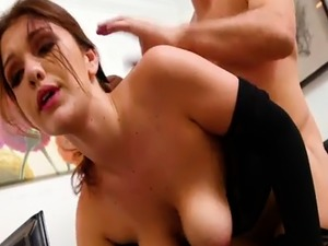 Boss pounds his new natural busty secretary