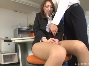 Japanese woman ravished by a hunk during an office fuck