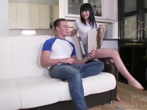 Young Anal Tryouts - Hot brunette babe