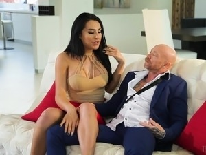 Chanel Santini joins a transsexual man for a kinky fuck