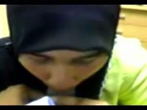 Cute and sexy Arab girl in hijab sucking my dick in POV