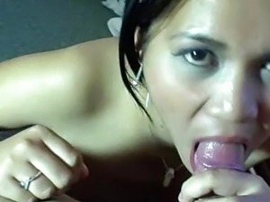Asian beauty sucks and takes a small cock in POV