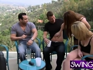 Young swingers talking in reality show