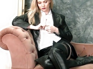 Busty blonde babe upskirt in nylons and leather thigh boots