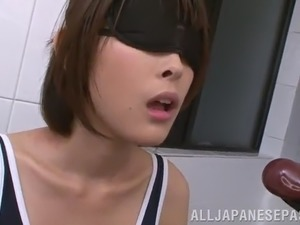 messy blowjob scene with oiled up japanese cutie