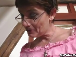 Old motherinlaw getting kinky with him