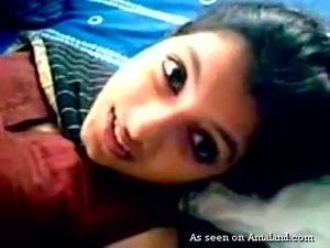Extremely beautiful and horny Indian teen babe filmed naked in the bedroom