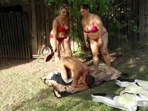 Outdoor threesome with hot matures