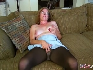 Grannies performing seductive striptease and playing with adult toys