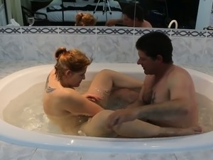 Amateur tattooed wife of my buddy rides his strong cock in jacuzzi