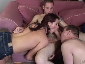 bisexual threesome with a horny mature redhead