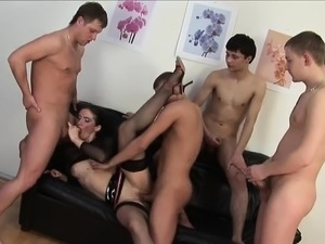 Double penetration group sex blond fuck