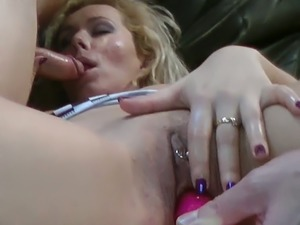Blonde white lady with big breasts toyed and fed with a bunch of dicks