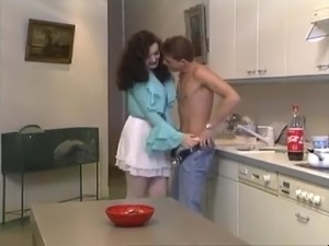Hairy Italian anal in the kitchen