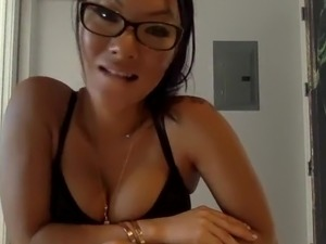 Big boobs horny appetite asian in glasses on webcam
