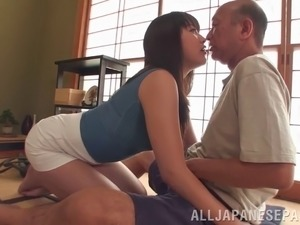 An old man gets to dip his dick into a hot Asian piece of ass