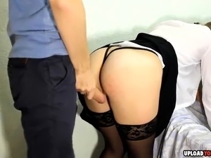 Horny amateur girl with stockings gets spanked and fucked from behind