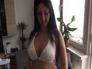 Busty brunette slut loves a fat cock up her ass
