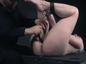 poor dresden gets bondaged and toyed in pussy by her master