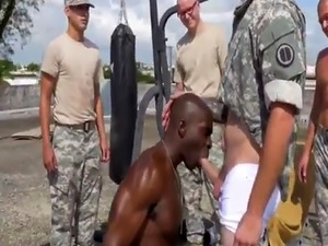 Group of muscular army men have gay sex Staff Sergeant knows what is