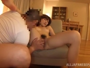 delightful asian dame with long hair moaning while her hairy pussy is worked...