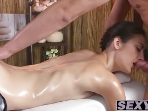 Horny babe with natural tits fucked hard by massage dude