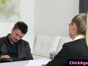 Blonde casting agent pussy fingered by client