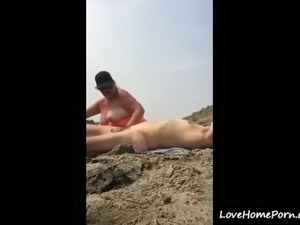 Fat mature couple having a wild fuck on the beach ends with cumshot