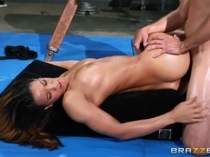 fitness fanatic sophia fiore gets ass fucked on gymnastic equipment