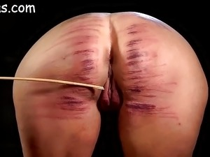 Girls ass brutally caned