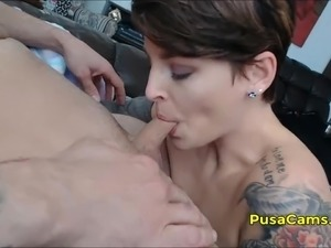 Short Hair European Girl Blowjob Fingering and