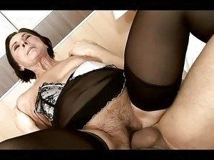 Hairy granny In Stockings Pleased Her Young Lover