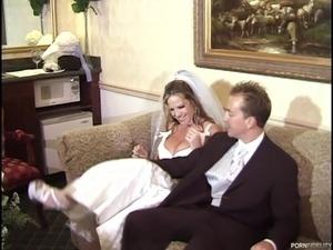 Bride and a bridesmaid have a wedding night threesome