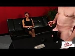 Busty english femdom instructing jerking guy