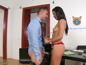 Absolutely gorgeous European secretary pleases her boss