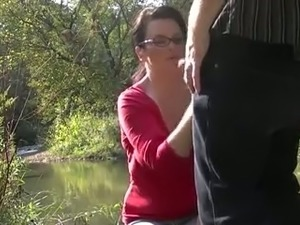 Mature woman sucking my dick deepthroat outdoor