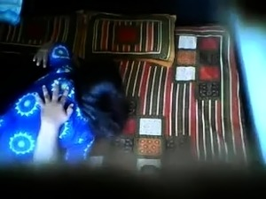 Voyeur shoots a cute Indian babe having fun with her lover