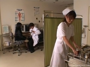 A doctor feels up a sexy Japanese girl's great tits